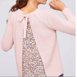 Loft Mix Media Open Back Pink Sweater Size Medium